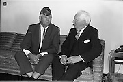 02/06/1964 <br /> 06/02/1964<br /> 02 June 1964<br /> National Commander of the American Legion in Dublin. Mr. Daniel F. Foley, whose grandparents were from Newcastlewest, Co. Limerick on a short holiday in Ireland. Picture shows the United States Ambassador to Ireland, Mr. Matthew McCloskey (right) chatting with Mr Foley at the new U.S. Embassy in Dublin.