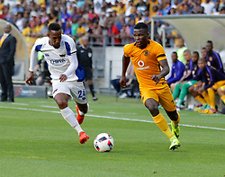 Diamond Thopola of Chippa United (L) and Edmore Chirambadare of Kaizer Chiefs during the 2016 Premier Soccer League match between Chippa United and Kaizer Chiefs held at the Nelson Mandela Bay Stadium in Port Elizabeth, South Africa on the 3rd December 2016.<br /> <br /> Photo by:   Richard Huggard / Real Time Images