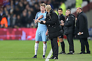 Pep Guardiola, the Manchester City manager talking to Kevin De Bruyne of Manchester City on the touchline. Premier league match, West Ham Utd v Manchester city at the London Stadium, Queen Elizabeth Olympic Park in London on Wednesday 1st February 2017.<br /> pic by John Patrick Fletcher, Andrew Orchard sports photography.