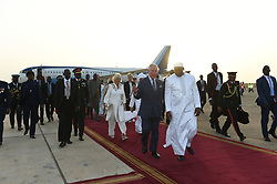 The Prince of Wales and Duchess of Cornwall are greeted on arrival at Banjul international airport in The Gambia, at the start of their trip to west Africa.