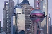 View of the futuristic architecture of the buildings of Lujiazui, Shanghai, China
