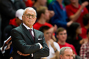 DALLAS, TX - JANUARY 15: SMU Mustangs head coach Larry Brown looks on against the South Florida Bulls on January 15, 2014 at Moody Coliseum in Dallas, Texas.  (Photo by Cooper Neill/Getty Images) *** Local Caption *** Larry Brown