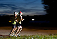 Augusta, New Jersey - A pair of runners at night during the 3 Days at the Fair races at Sussex County Fairgrounds on May 12, 2012.