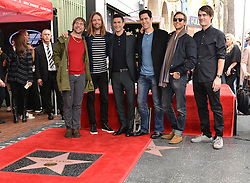 Maroon 5 attends the ceremony honoring Adam Levine with a star on the Hollywood Walk of Fame on February 5, 2017 in Los Angeles, California. Photo by Lionel Hahn/AbacaUsa.com