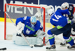 Robert Kristan of Slovenia, Miha Stebih of Slovenia and Jimmy Vesey of USA during Ice Hockey match between Slovenia and USA at Day 10 in Group B of 2015 IIHF World Championship, on May 10, 2015 in CEZ Arena, Ostrava, Czech Republic. Photo by Vid Ponikvar / Sportida