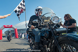 Steve Simpson riding his 1928 Harley-Davidson JD crosses over the finish at the end of Stage 16 (142 miles) of the Motorcycle Cannonball Cross-Country Endurance Run, which on this day ran from Yakima to Tacoma, WA, USA. Sunday, September 21, 2014.  Photography ©2014 Michael Lichter.