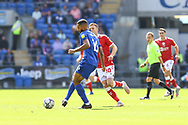 Cardiff City defender Curtis Nelson (16) under pressure from Bristol City's Andy King (10) during the EFL Sky Bet Championship match between Cardiff City and Bristol City at the Cardiff City Stadium, Cardiff, Wales on 28 August 2021.