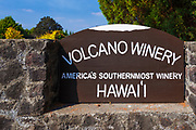 The entrance sign at Volcano Winery, Volcano, The Big Island, Hawaii USA