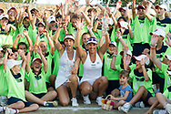 Andreja Klepac (SLO) and María José Martínez Sánchez (ESP) with ball boys and girls after winning the  Mallorca Open at Country Club Santa Ponsa on June 22, 2018 in Mallorca, Spain. Photo Credit: Katja Boll/EVENTMEDIA.