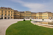 Front part of the Shoenbrunn Palace in Vienna. Only one part of the massive facility.