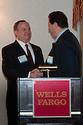 Joe Kirk, Joe Kirk, Regional President for Wells Fargo New York and Connecticut greets Jeffrey Bernstein, Chairman of MCC at the Manhattan Chamber of Commerce Annual Economic Outlook Breakfast, held at the New York Athletic Club in New York on April 4, 2011. The breakfast was sponsored by Wells Fargo.