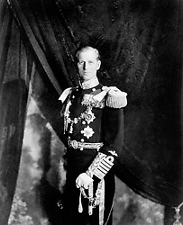 The Duke of Edinburgh, in uniform as Admiral of the Fleet, in the Throne Room of Buckingham Palace, London, after the Coronation of Queen Elizabeth II, his wife, on 2nd June.