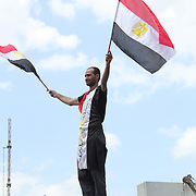 A flag-waving protester climbs on top of the Sadat Metro sign and tests his balance.