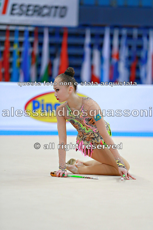 Ashirbayeva Sabina during qualifying at clubs in Pesaro World Cup 11 April 2015.<br />