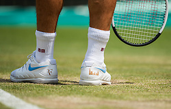 July 9, 2018 - London, England, U.S. - LONDON, ENG - JULY 09: ROGER FEDERER (SUI) during day seven match of the 2018 Wimbledon on July 9, 2018, at All England Lawn Tennis and Croquet Club in London,England. (Photo by Chaz Niell/Icon Sportswire) (Credit Image: © Chaz Niell/Icon SMI via ZUMA Press)