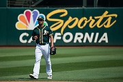 Oakland Athletics shortstop Marcus Semien (10) watches gameplay against the Los Angeles Angels at Oakland Coliseum in Oakland, California, on September 6, 2017. (Stan Olszewski/Special to S.F. Examiner)
