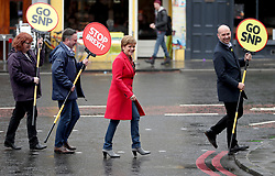 First Minister Nicola Sturgeon campaigns alongside lead SNP European election candidate Alyn Smith MEP (centre) with Ben Macpherson MSP (right) and Deirdrie Brock MP (left) in Leith, Edinburgh.