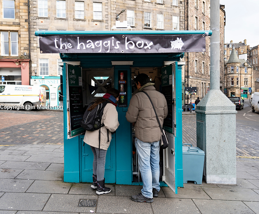 Small kiosk selling Scottish snacks called The Haggis Box, on Grassmarket square in Edinburgh Old Town, Scotland, UK