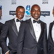 NLD/Hilversum/20150217 - Inloop Buma Awards 2015, Replay, Alwin Burke, Sam de Wit, Henk Waarde en Mark Dakriet
