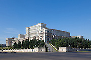 The Palace of the Parliament (Also known as Ceausescu's Palace or House of The People) in Bucharest, Romania. Built 1983-1989. Architect: Anca Petrescu
