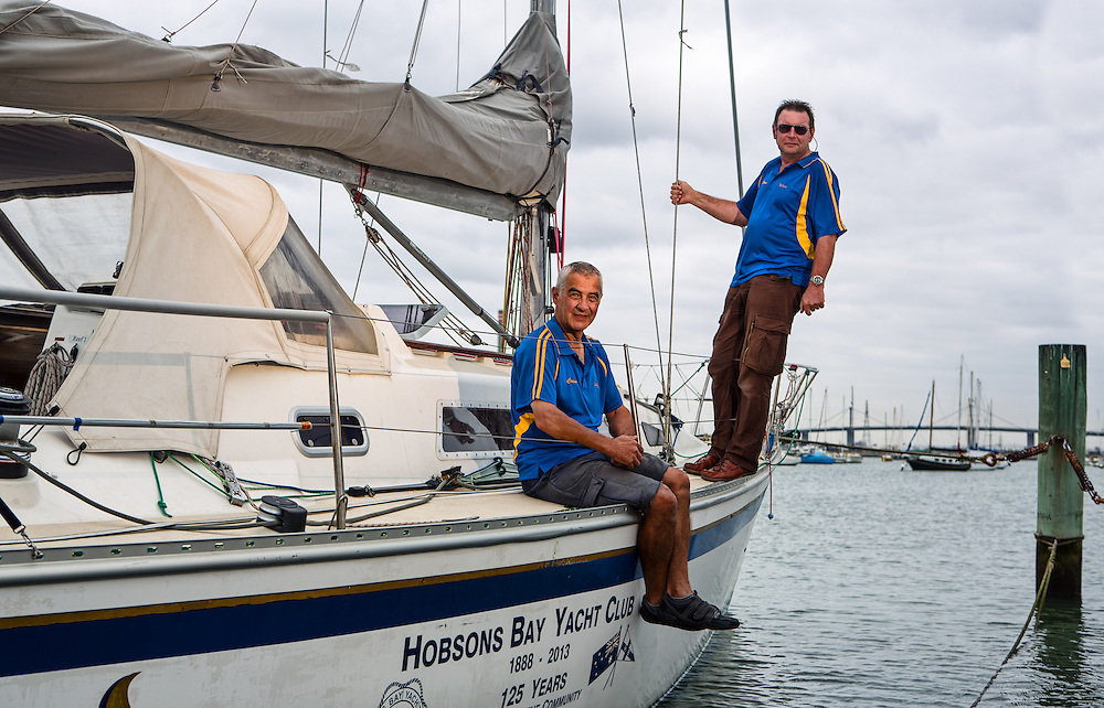 ALTW - WEST - 15/3 - 42822  Skipper and crew of Hobsons Bay Yacht Club are planning their 125th anniversary events. They are also in a two handed yacht race between Melbourne and Osaka (Japan). Skipper Robert Bradley and crew Joey Gough. Photo By Craig Sillitoe This photograph can be used for non commercial uses with attribution. Credit: Craig Sillitoe Photography / http://www.csillitoe.com<br /> <br /> It is protected under the Creative Commons Attribution-NonCommercial-ShareAlike 4.0 International License. To view a copy of this license, visit http://creativecommons.org/licenses/by-nc-sa/4.0/.