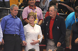 US President George Bush, wife Laura, daugter Barbara, Former US President George Herbert Walker Bush and Chinese Foreign minister Jiang Jiechi attend the Basket Game USA/China at the Olympic Basketball Gymnasium day 2 of the XXIX Olympic games in Beijing, China on August 10, 2008. Photo by Gouhier-Hahn-Nebinger/Cameleon/ABACAPRESS.COM