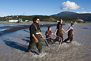 Carlos Rivera and his three daughters (left to right) Maia, Kristian and Juliane wade out to the family's fish wheel on the Copper River, near Chitina, Alaska, with a large fishing net to harvest sockeye salmon.