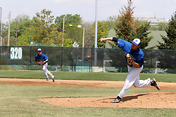 11 May 2013:  Alex Silverthorne starts as pitcher for North Park during an NCAA division 3 College Conference of Illinois and Wisconsin (CCIW) Pay in Baseball game during the Conference Championship series between the North Park Vikings and the Illinois Wesleyan Titans at Jack Horenberger Stadium, Bloomington IL