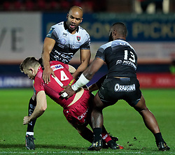 Scarlets' Tom Prydie is tackled by Toulon's JP Pietersen<br /> <br /> Photographer Simon King/Replay Images<br /> <br /> European Rugby Champions Cup Round 6 - Scarlets v Toulon - Saturday 20th January 2018 - Parc Y Scarlets - Llanelli<br /> <br /> World Copyright © Replay Images . All rights reserved. info@replayimages.co.uk - http://replayimages.co.uk