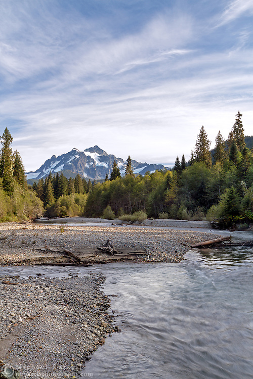 Mount Shuksan and the confluence of Swamp Creek and the North Fork of the Nooksack River in the Mount Baker-Snoqualmie National Forest in Washington State, USA