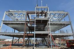 West Elevation during steel erection. Central Connecticut State University. New Academic Building. CT-DCS Project No: BI-RC-324 Architect: Burt Hill Kosar Rittelmann Associates. Contractor: Gilbane, Inc.