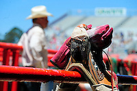 Carefully prepared bronc riding gear sits on a rail in the hour before the 102nd California Rodeo Salinas, which opened July 19 for a four-day run.