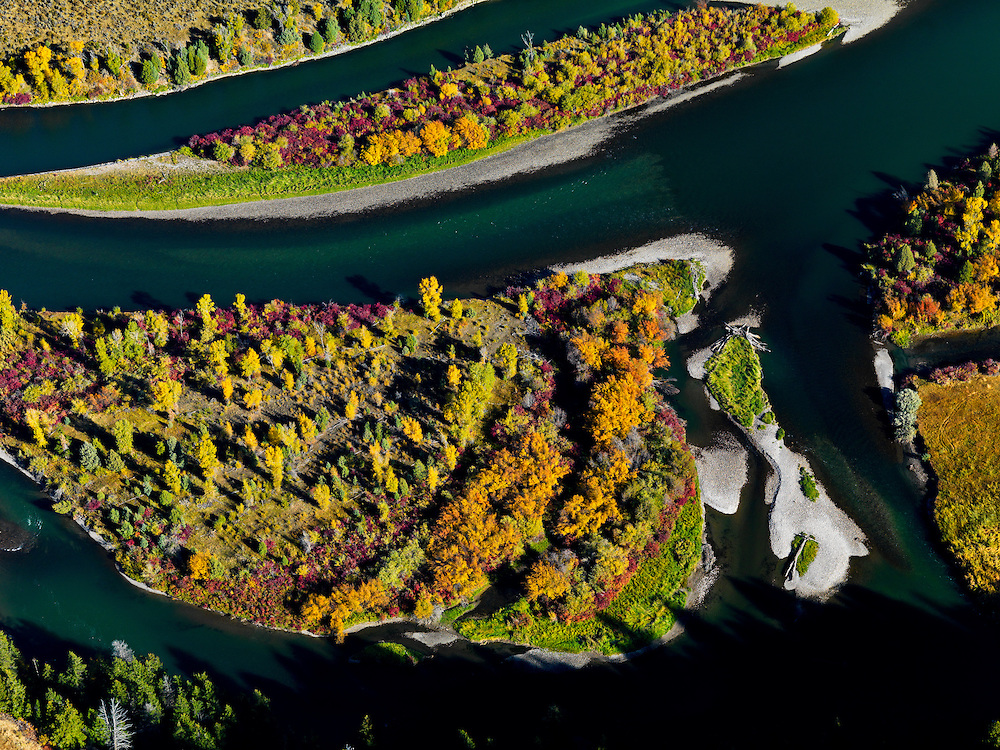Limited Edition of 17<br /> Aerial detail view of the South Fork of the Snake River with islands and gravel bars up river from the town of Ririe in Eastern Idaho in autumn color