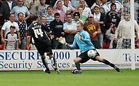 Photo: Paul Thomas.<br /> Walsall v Swansea. Coca Cola League 1.<br /> 27/08/2005.<br /> <br /> Kevin McLeod scores for Swansea.