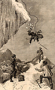 Intrepid climber jumping over a crack in an ice wall.  Engraving from 'Scrambles Among the Alps' by Edmund Whymper (London, 1872).