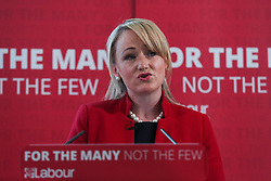 © Licensed to London News Pictures. 10/05/2017. Leeds, UK. Shadow Business Secretary Rebecca Long-Bailey speaks at Leeds City College in West Yorkshire. Yesterday Labour officially launched their general election campaign and unveiled their 'battle bus' in Manchester. Photo credit : Ian Hinchliffe/LNP