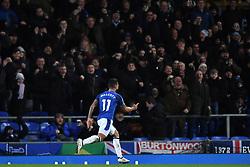 Everton's Theo Walcott celebrates scoring the first goal