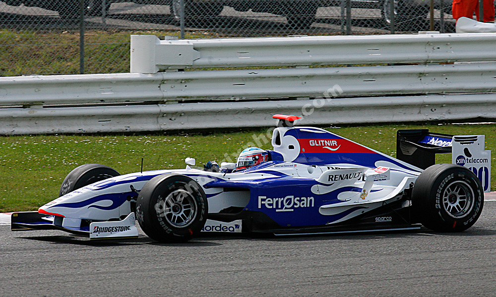 Christian Bakkerud in Saturday's GP2 race at the 2007 British Grand Prix at Silverstone. Photo: Grand Prix Photo