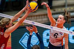 Allysa Batenhorst of USA, Marije ten Brinke of Netherlands in action during United States - Netherlands, FIVB U20 Women's World Championship on July 15, 2021 in Rotterdam