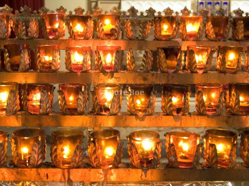 illuminated little votive candles