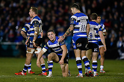 Bath Inside Centre Sam Burgess, making his first start for the Club, is encouraged by Winger Matt Banahan - Photo mandatory by-line: Rogan Thomson/JMP - 07966 386802 - 12/12/2014 - SPORT - RUGBY UNION - Bath, England - The Recreation Ground - Bath Rugby v Montpellier Herault Rugby - European Rugby Champions Cup Pool 4.