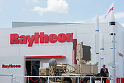 The Raytheon exhibit at the Farnborough Airshow, on 16th July 2018, in Farnborough, England.