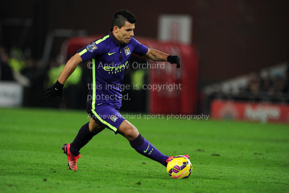 Sergio Aguero of Manchester city in action. Barclays Premier League match, Stoke city v Manchester city at the Britannia Stadium in Stoke on Trent , Staffs on Wed 11th Feb 2015.<br /> pic by Andrew Orchard, Andrew Orchard sports photography.