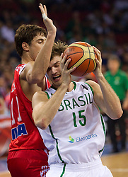 Ante Tomic of Croatia vs Tiago Splitter of Brasil during  the Preliminary Round - Group B basketball match between National teams of Brasil and Croatia at 2010 FIBA World Championships on September 2, 2010 at Abdi Ipekci Arena in Istanbul, Turkey. (Photo By Vid Ponikvar / Sportida.com)