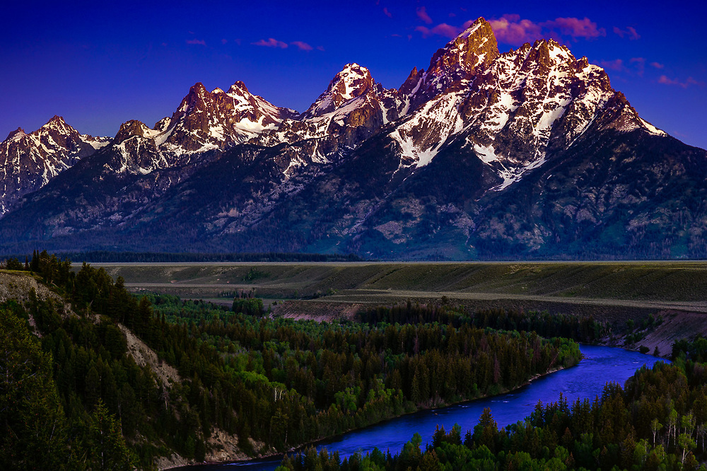 The Cathedral Group and Snake River, summer, Grand Teton National Park, Wyoming, USA