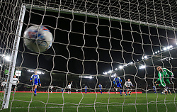 Derby County's Mason Bennett scores his side's first goal of the game during the Sky Bet Championship match at Pride Park, Derby.
