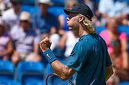 Jared Donaldson of the United States of America fist pumps after winning the first set during the Nature Valley International at Devonshire Park, Eastbourne, United Kingdom on 27 June 2018. Picture by Martin Cole.