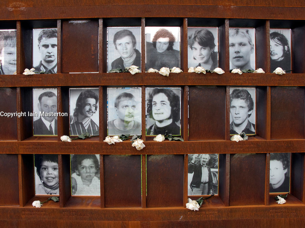Window of Remembrance with photographs of victims of people killed trying to escape Berlin Wall at new Berlin Wall Memorial in Bernauer Strasse in Berlin