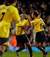 Photo: Ed Godden.<br /> Fulham v Arsenal. The Barclays Premiership. 29/11/2006.<br /> Robin Van Persie (L) celebrates his goal for Arsenal.