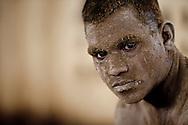 Portrait of a Kushti wrestler taking a break from his practice, Varanasi, India